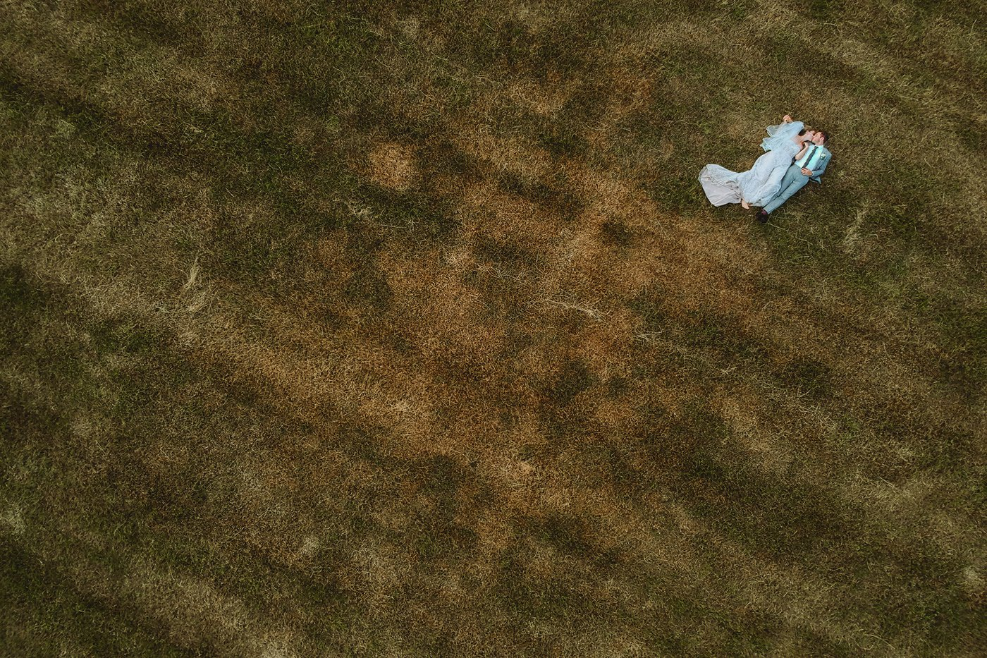 bride and groom drone photograph